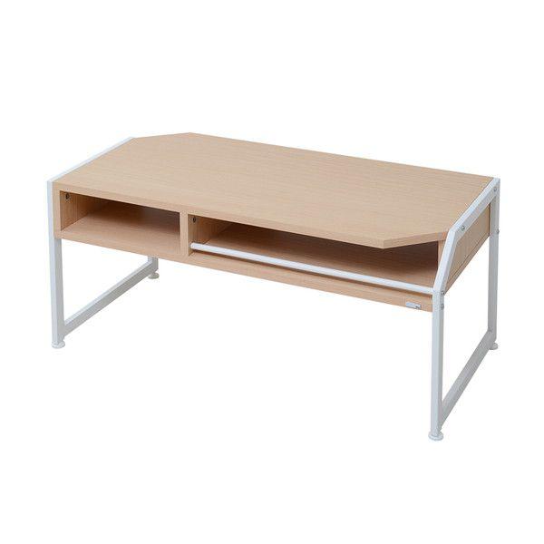 センターテーブル 幅90 ローテーブル テーブル リビングテーブル コーヒーテーブル 応接テーブル デスク 机 文机 木製テーブル 棚 収納 リモコン収納 スチール 木製 【ホワイト 白 ナチュラル】