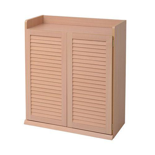 下駄箱 シューズラック シューズボックス 靴箱 オフィス おしゃれ 北欧 収納 安い 薄型 スリム 約 幅75 カビ対策 通気性 木製 ルーバー ロータイプ 扉
