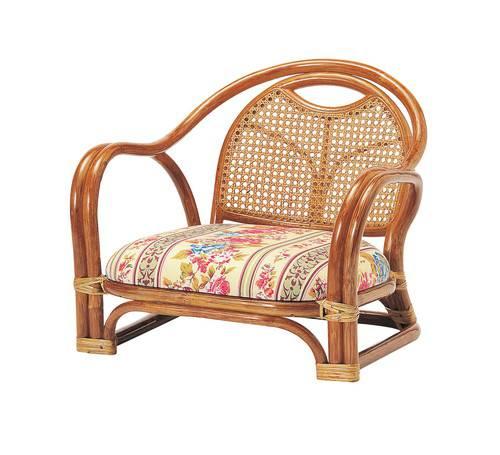 座椅子 籐 ラタン 肘付き チェア ( 座いす チェアー 1人掛け ソファー ソファ 座イス 低い 低い椅子 )