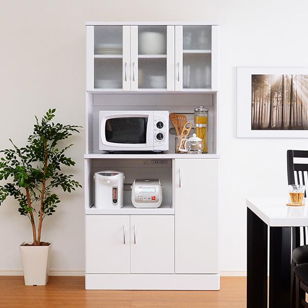 食器棚 おしゃれ 北欧 安い キッチン 収納 棚 ラック 木製 レンジ台 キッチンボード カップボード ハイタイプ 大容量 約 幅90 白 スライド 炊飯器置き場 約 奥行45 ワイド コンセント