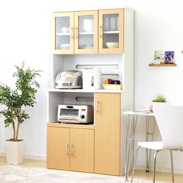 食器棚 おしゃれ 北欧 安い キッチン 収納 棚 ラック 木製 レンジ台 キッチンボード カップボード ハイタイプ 大容量 約 幅90 スライド 炊飯器置き場 高さ180 カントリー ワイド コンセント