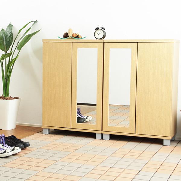 下駄箱 シューズラック シューズボックス 靴箱 オフィス 2個 おしゃれ 北欧 収納 安い 薄型 スリム 約 幅60 幅120 木製 大型 大容量 鏡付き ミラー ロータイプ 扉