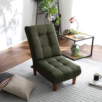 座椅子 リクライニングチェア 低い 椅子 ソファー ソファ 1人掛け 一人掛け 1人用 一人用 一人暮らし コンパクト 小さめ ミニ 軽量 おしゃれ 北欧 安い リビング ローソファ こたつ リクライニング ハイバック 布 ポケットコイル グリーン 緑 グレー ブラウン 茶色