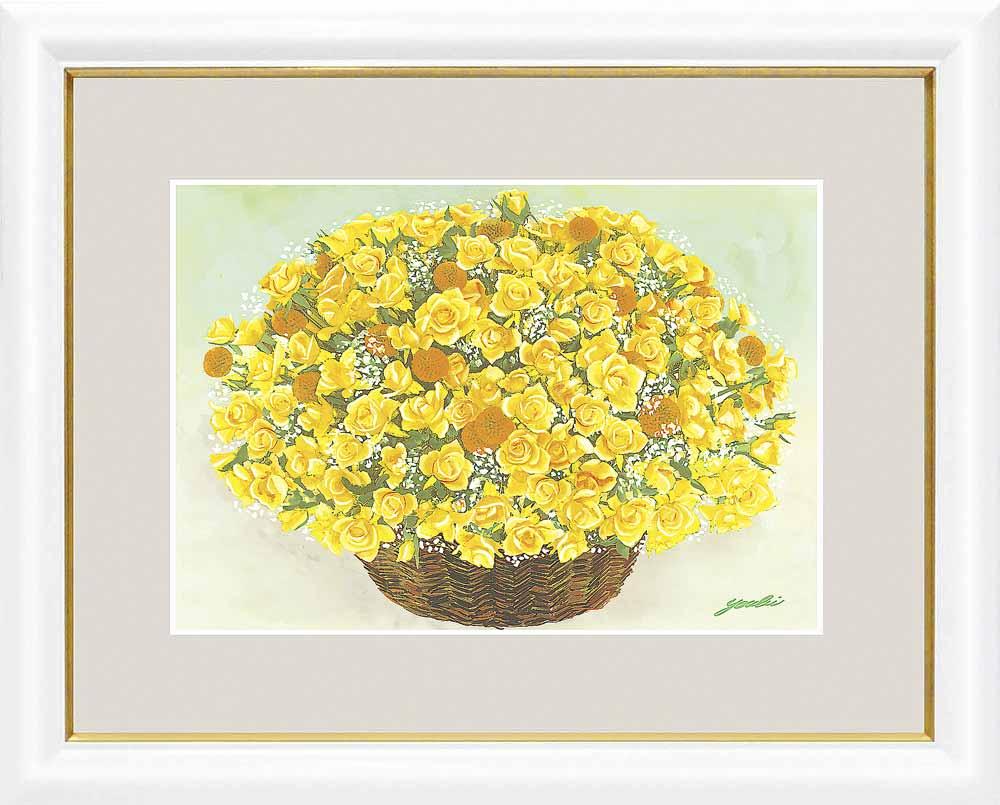 額 洋美 千 采加 幸せのブーケ 金運西 きらめく黄色いブーケ 絵画