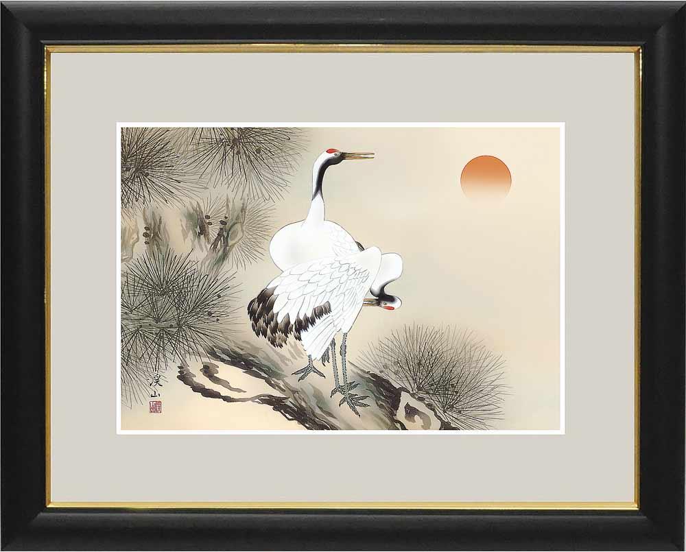 額 和の雅び 伝統の趣 伊藤渓山 縁起画 松上双鶴 絵画