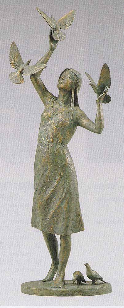丸山幸一 ブロンズ像 鳩と少女 床の間 置物 銅像 全国送料無料 【smtb-k】【ky】