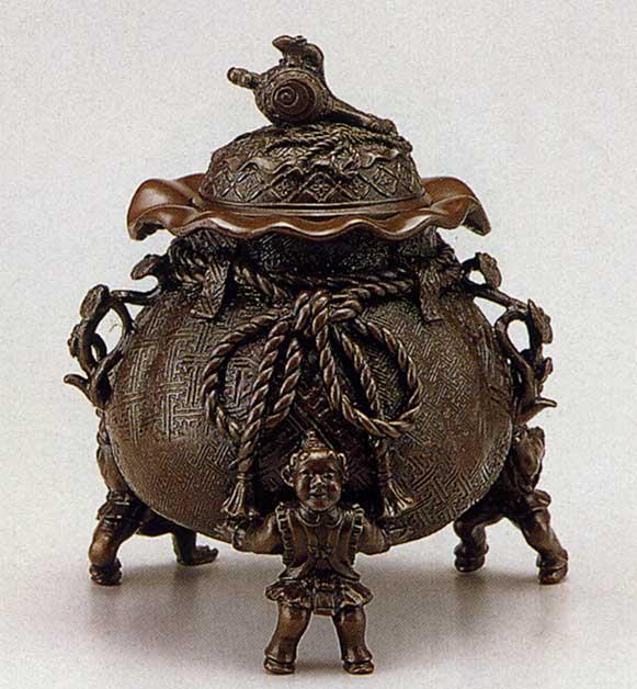 送料無料 香炉 茶袋 大 二上 元威 床の間 置物 仏具 銅 ブロンズ
