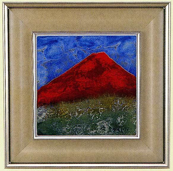 送料無料 五彩の富士山 赤富士 特大 池田 満寿夫 レリーフ 彫刻 絵画 パネル