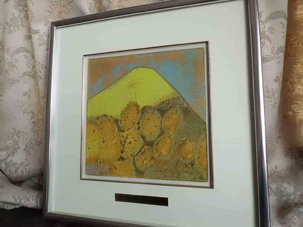 送料無料 五彩の富士山 黄富士 大 池田 満寿夫 レリーフ 彫刻 絵画 パネル