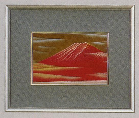 送料無料 赤富士 北 秀玉 作 レリーフ 彫刻 絵画 パネル