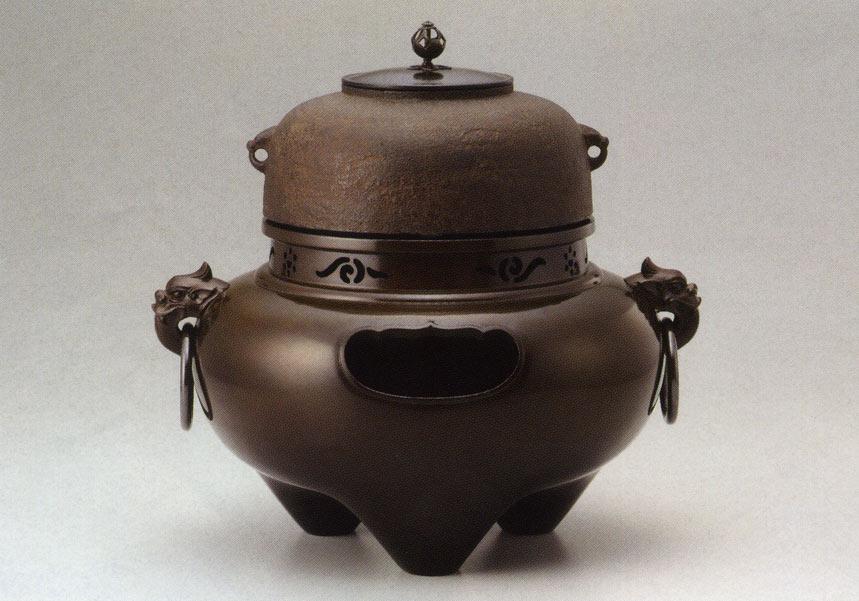 彫刻 銅像 雑貨 置物 美術 茶道 送料無料 般若宗勘作 鬼面風炉切合釜添 彫刻 銅像 雑貨 置物 茶道 床の間
