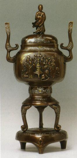 送料無料 香炉 十六羅漢香炉 彫刻 銅像 雑貨 置物 床の間