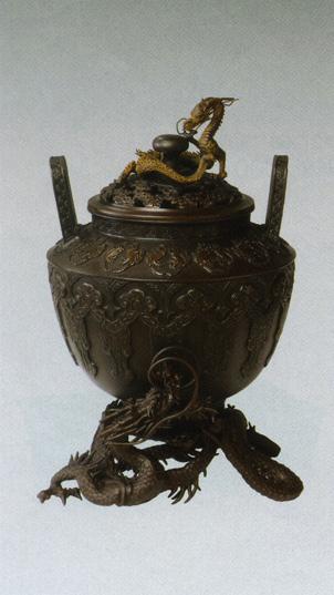 香炉 銅像 雑貨 置物 美術 茶道 送料無料 香炉 龍足雲龍蓋香炉 彫刻 銅像 雑貨 置物 床の間