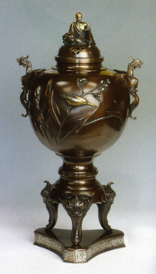 送料無料 香炉 獅子足川蝉羅漢香炉 彫刻 銅像 雑貨 置物 床の間