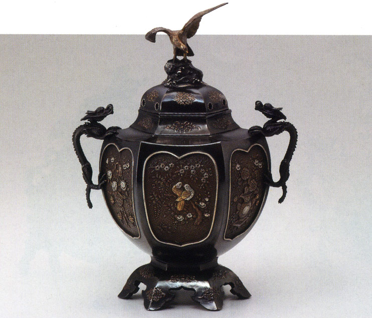 送料無料 村田宏作 香炉 六角間取香炉 彫刻 銅像 雑貨 置物 床の間
