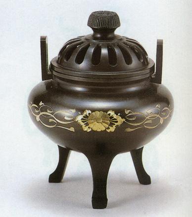 送料無料 利久型香炉 大 彫金唐草 彫刻 銅像 雑貨 置物 床の間