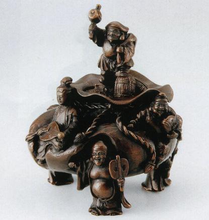 送料無料 招福七福神香炉 大森孝志作 彫刻 銅像 雑貨 置物 床の間