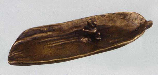 香立 笹に蛙 大 彫刻 銅像 雑貨 置物 床の間