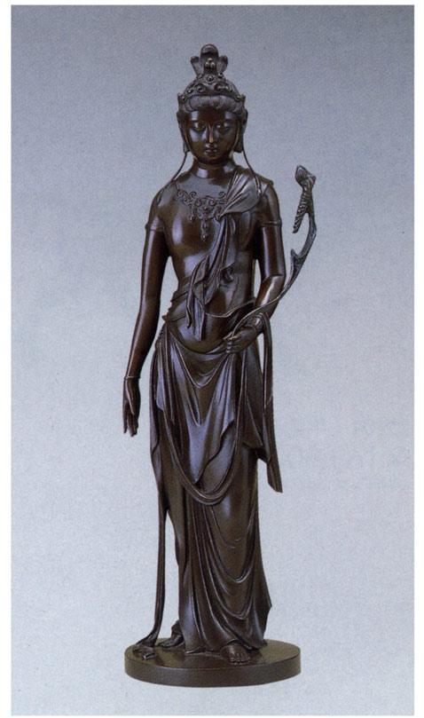 明治の巨匠 高村光雲 作品 聖観音像 丸台付 床の間 銅像 送料無料