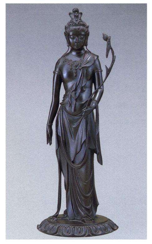 明治の巨匠 高村光雲 作品 聖観音蓮台付 小 床の間 銅像 送料無料