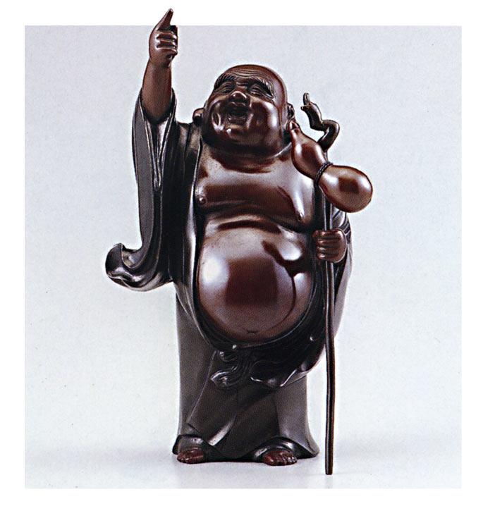 招福 七福神 風吹布袋 越井栄山 床の間 開運 銅像 和雑貨 送料無料