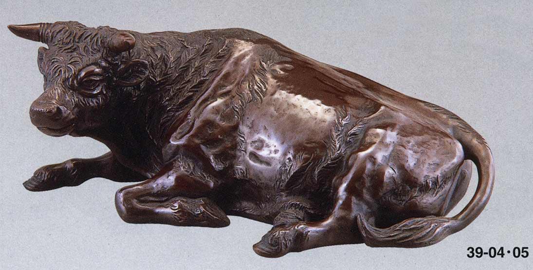 座牛 30号 般若純一郎 床の間 開運 銅像 和雑貨 鷹 送料無料