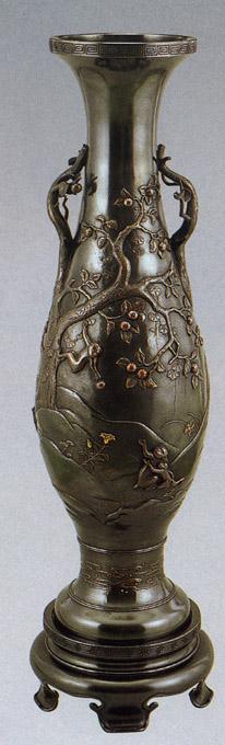 猿 長寿1 花瓶 花器 床の間 置物 銅製 ブロンズ 送料無料