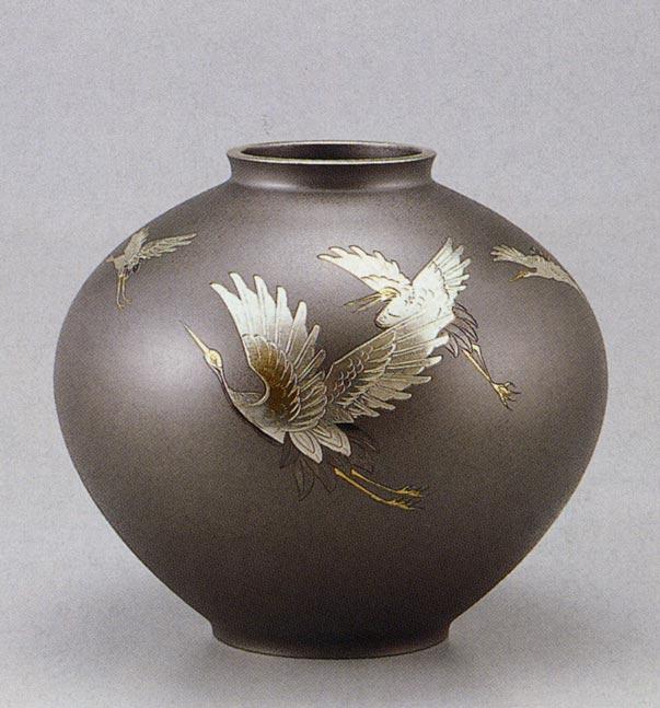 12号 寿形 五羽鶴 花瓶 花器 床の間 置物 銅製 ブロンズ 送料無料