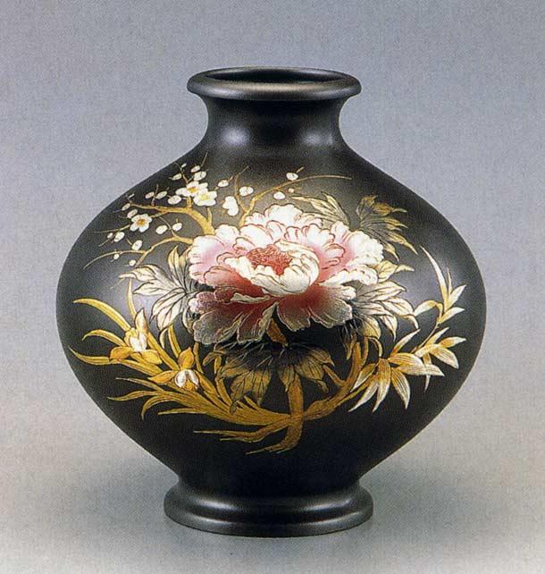 12号 新寿形 牡丹四君子 山本 秀峰 花瓶 花器 床の間 置物 銅製 ブロンズ 送料無料