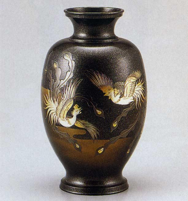 12号 鳳祥 鳳凰 花瓶 花器 床の間 置物 銅製 ブロンズ 送料無料