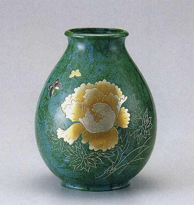 ダルマ形 牡丹 花瓶 花器 床の間 置物 銅製 床の間 送料無料