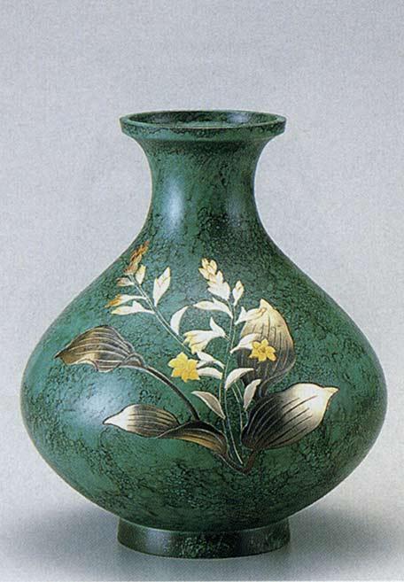 8号 鳳寿 ぎぼうし 山本 秀峰 花瓶 花器 床の間 置物 銅製 ブロンズ 送料無料
