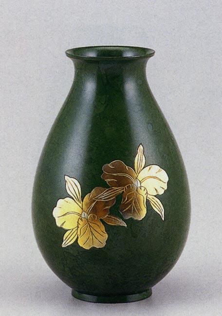 福ダルマ カトレア 花瓶 花器 床の間 置物 銅製 ブロンズ 送料無料