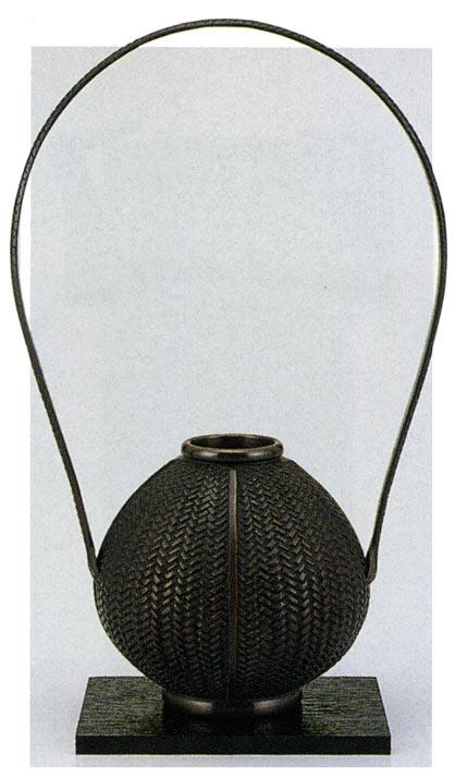 玉形網代 花瓶 花器 床の間 置物 銅製 ブロンズ 送料無料