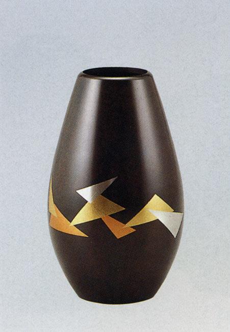 蒔絵 折ヅル 花瓶 花器 床の間 置物 銅製 ブロンズ 送料無料