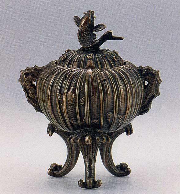 送料無料 香炉 鯉の滝登り香炉 床の間 置物 仏具 銅 ブロンズ