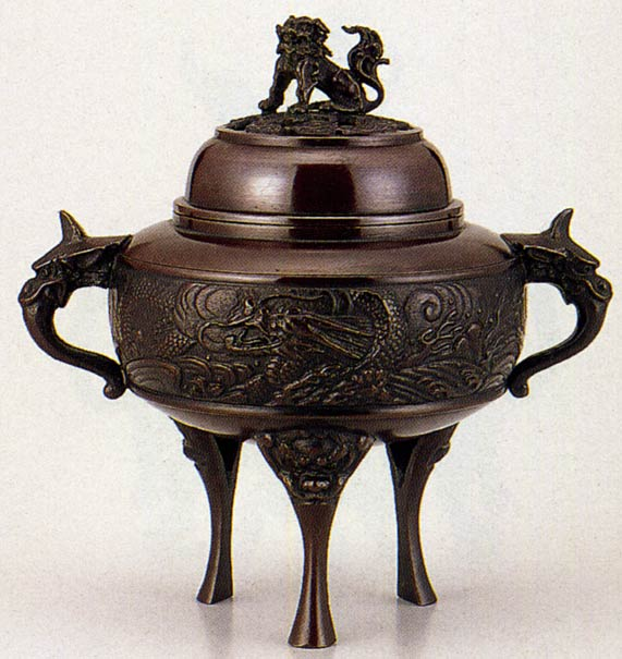 送料無料 香炉 龍地紋 大 能作 吉秀 床の間 置物 仏具 銅 ブロンズ