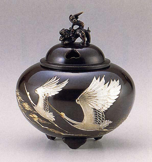 送料無料 彫金シリーズ 香炉 平丸獅子蓋 双鶴 床の間 置物 仏具 銅 ブロンズ