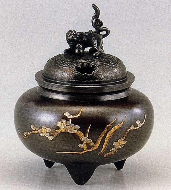 送料無料 彫金シリーズ 香炉 鉄鉢型獅子蓋 床の間 置物 仏具 銅 ブロンズ