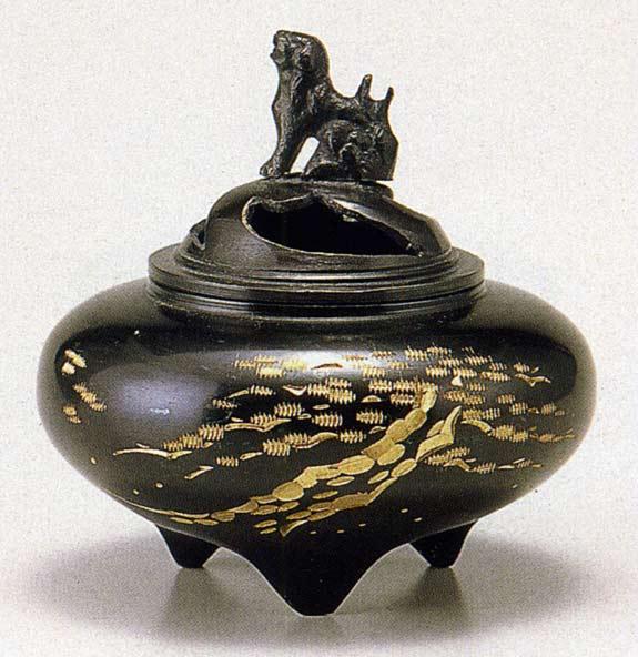 送料無料 彫金シリーズ 香炉 平型 松 床の間 置物 仏具 銅 ブロンズ