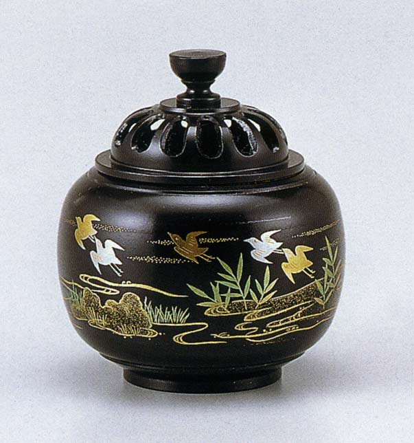 送料無料 香炉 蒔絵 玉胴型 波千鳥 床の間 置物 仏具 銅 ブロンズ