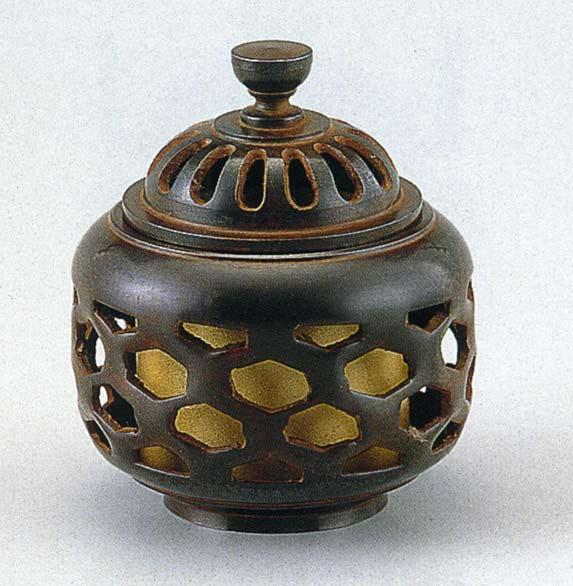 送料無料 香炉 亀甲透 床の間 置物 仏具 銅 ブロンズ
