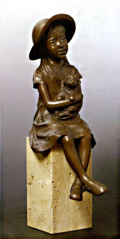 送料無料 小さな友達 彫刻 銅像 和雑貨