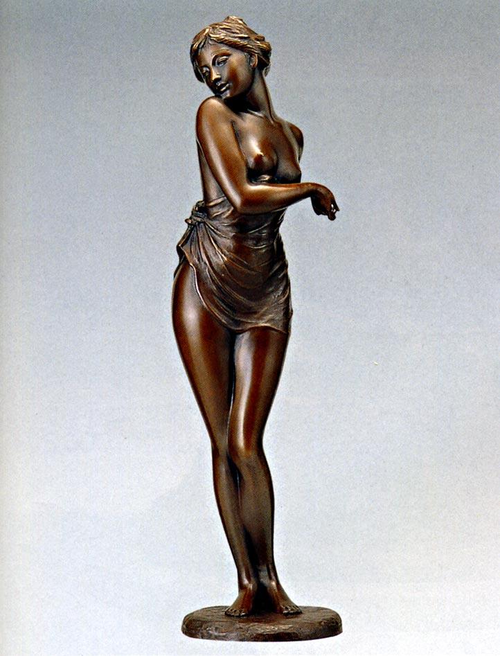 送料無料 はじらい 彫刻 銅像 和雑貨