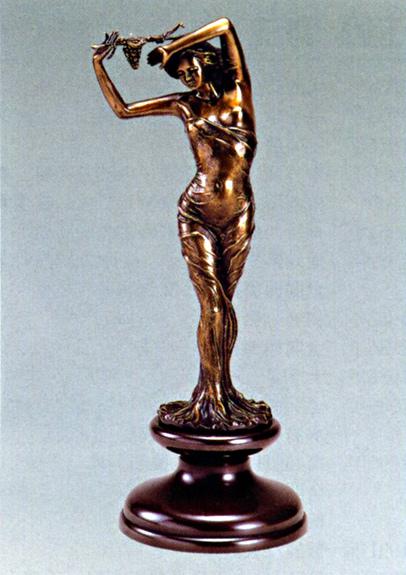 送料無料 葡萄をかざした少女 小 彫刻 銅像 和雑貨