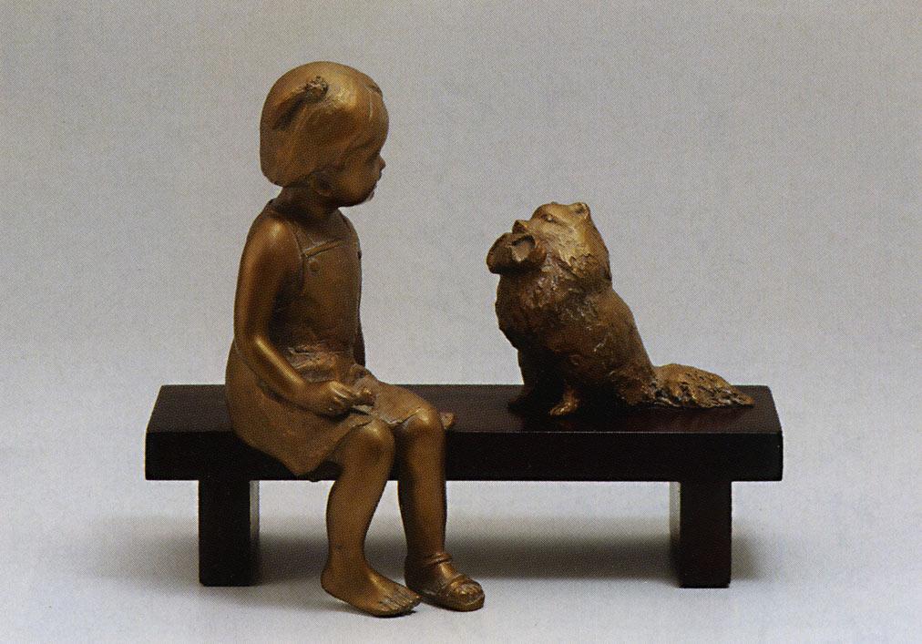 送料無料 いたずらポム 彫刻 銅像 和雑貨