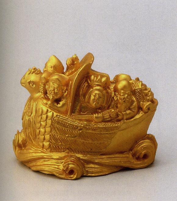 送料無料 開運七幅宝船 彫刻 銅像 雑貨 置物 美術 床の間