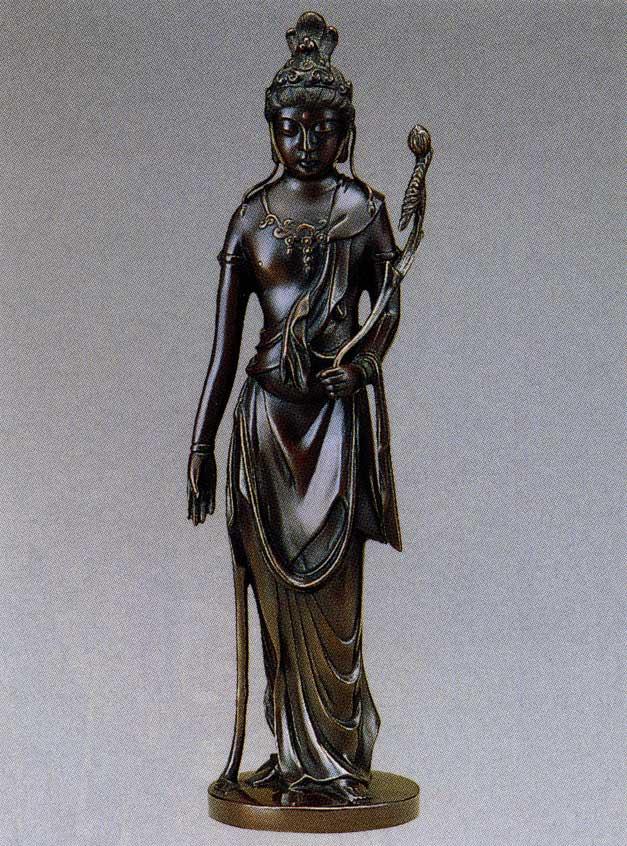 送料無料 聖観音菩薩 15号 彫刻 銅像 雑貨 置物 美術 床の間