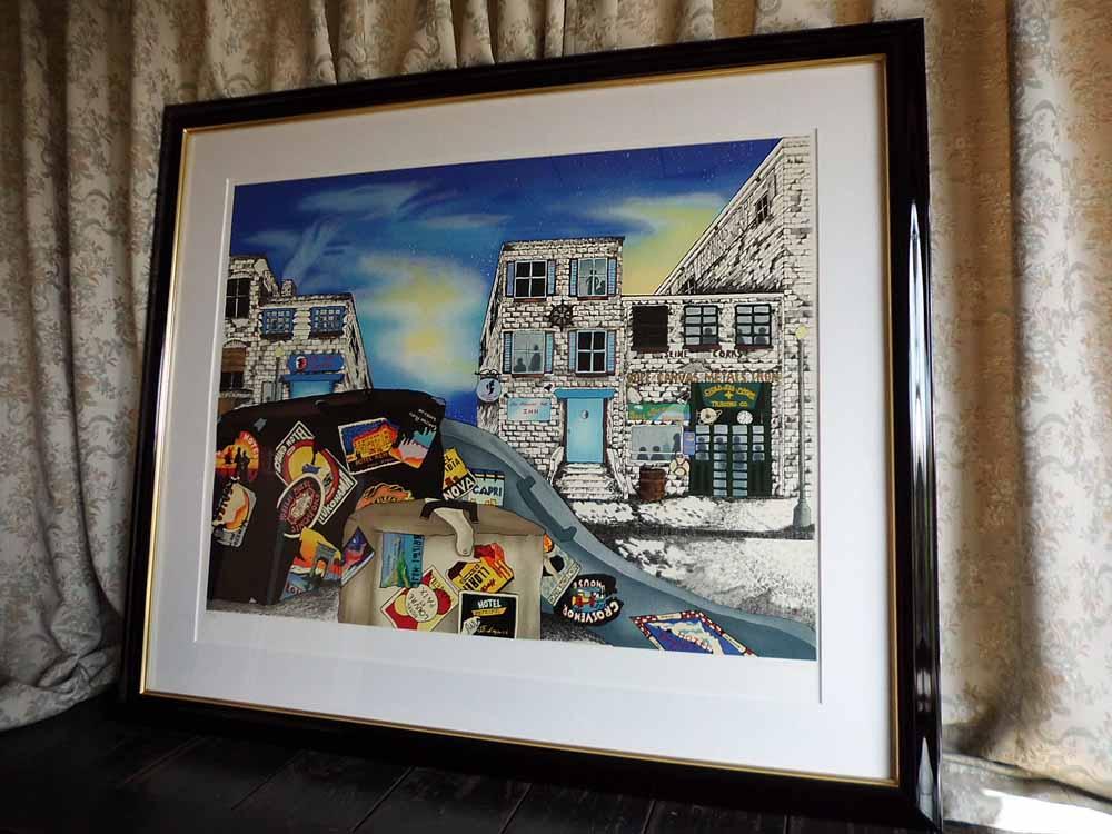 絵画 リネア・パーゴラ 街並み 版画/ジークレー 全国送料無料