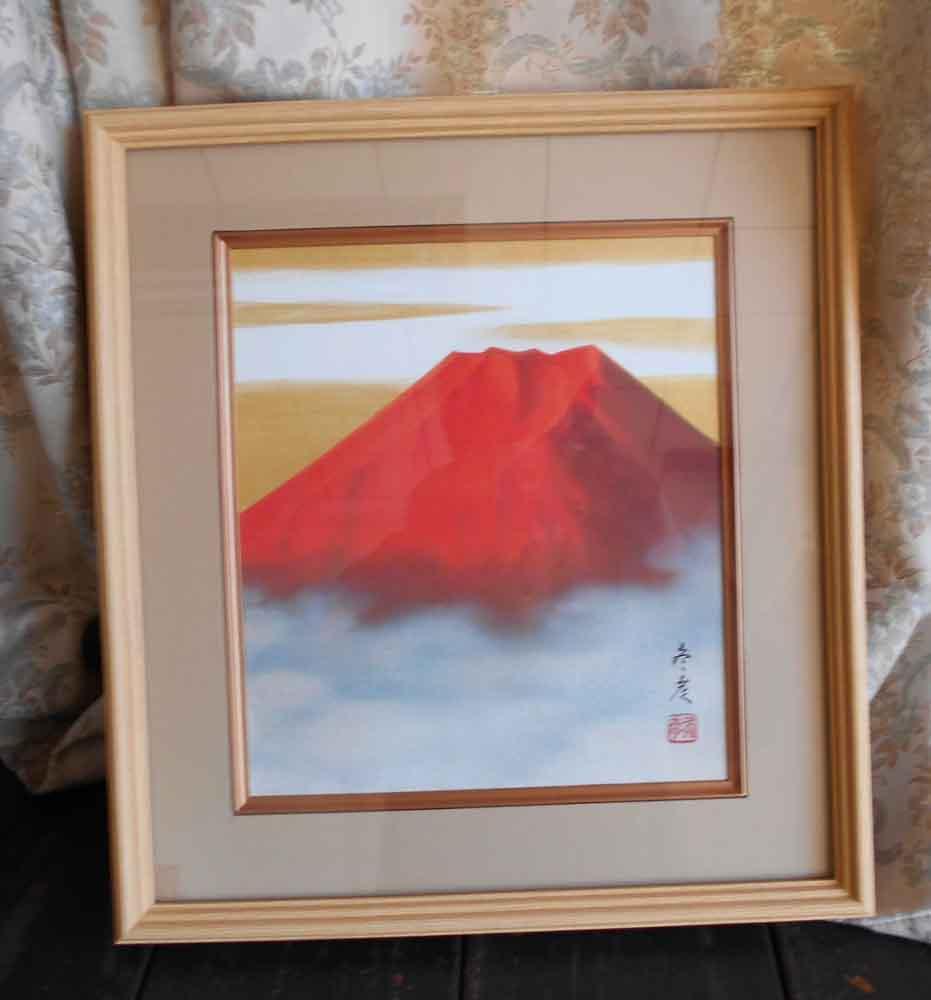 柳原冬彦 赤富士 日本画 肉筆 絵画 色紙